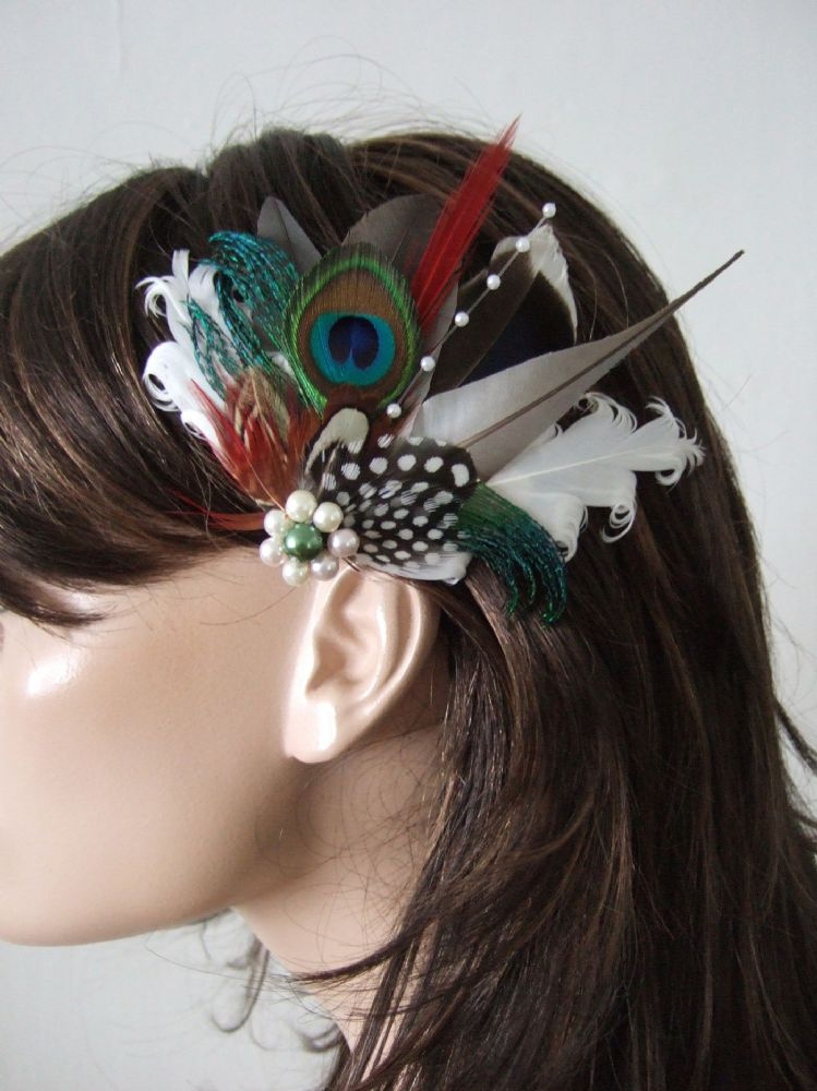 "Natural Pigeon Mallard Fascinator Woodland Feather Bridal Wedding Hair Clip ""Livia"" Grey Green White"